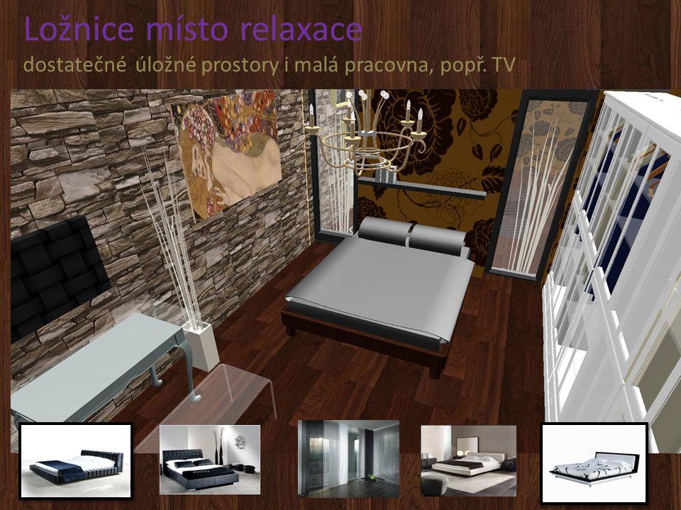 Ložnice místo relaxace dostatečné úložné prostory i malá pracovna, popř. TV