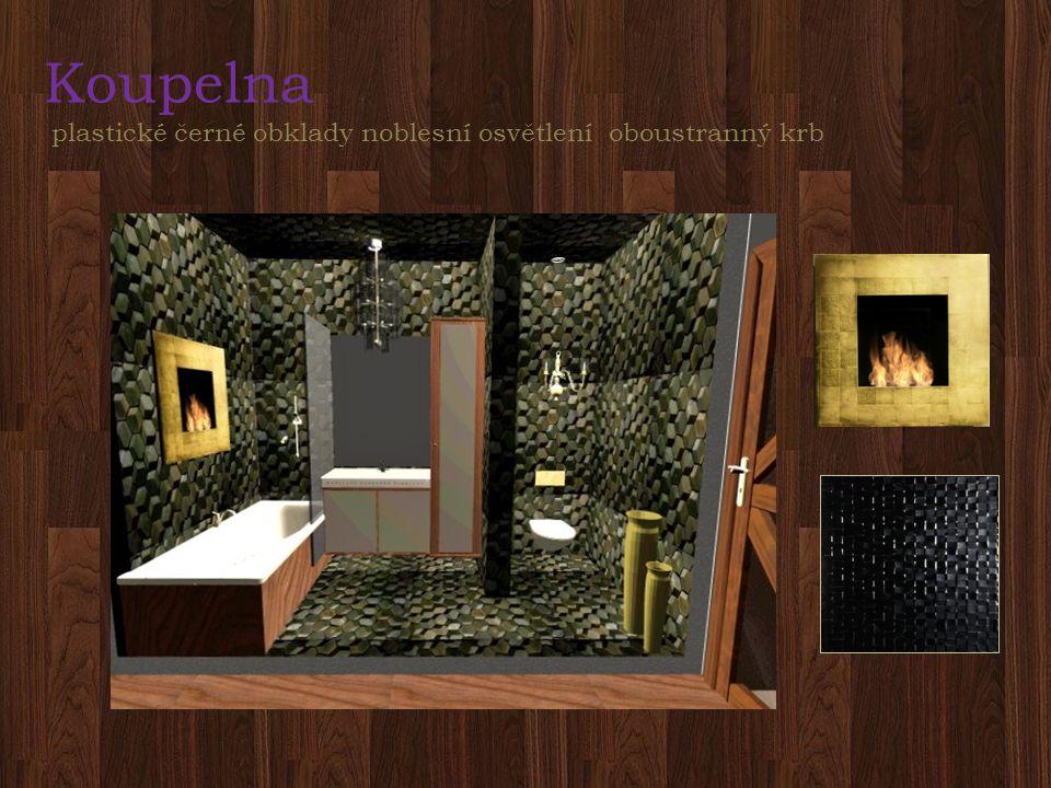 Koupelna plastické černé obklady noblesní osvětlení oboustranný krb
