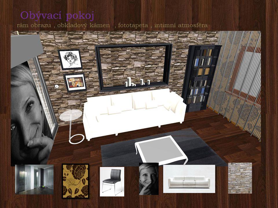 Obývací pokoj rám obrazu, obkladový kámen, fototapeta, intimní atmosféra