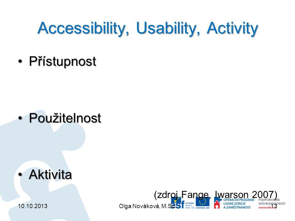 Accessibility, Usability, Activity PřístupnostPřístupnost PoužitelnostPoužitelnost AktivitaAktivita (zdroj Fange, Iwarson 2007) 10.10.2013Olga Novákov