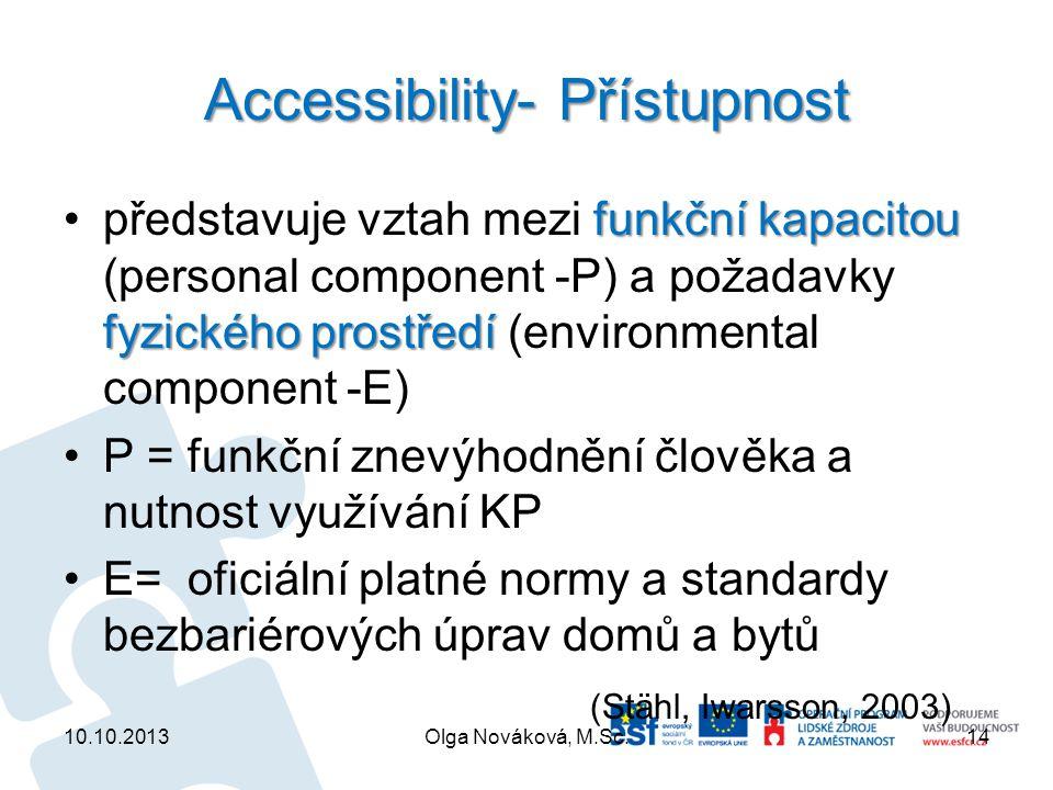 Accessibility- Přístupnost funkční kapacitou fyzického prostředípředstavuje vztah mezi funkční kapacitou (personal component -P) a požadavky fyzického