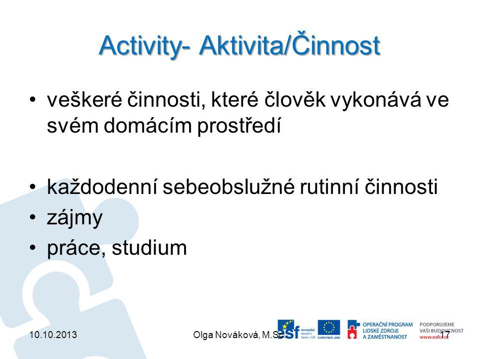 Activity- Aktivita/Činnost veškeré činnosti, které člověk vykonává ve svém domácím prostředí každodenní sebeobslužné rutinní činnosti zájmy práce, stu