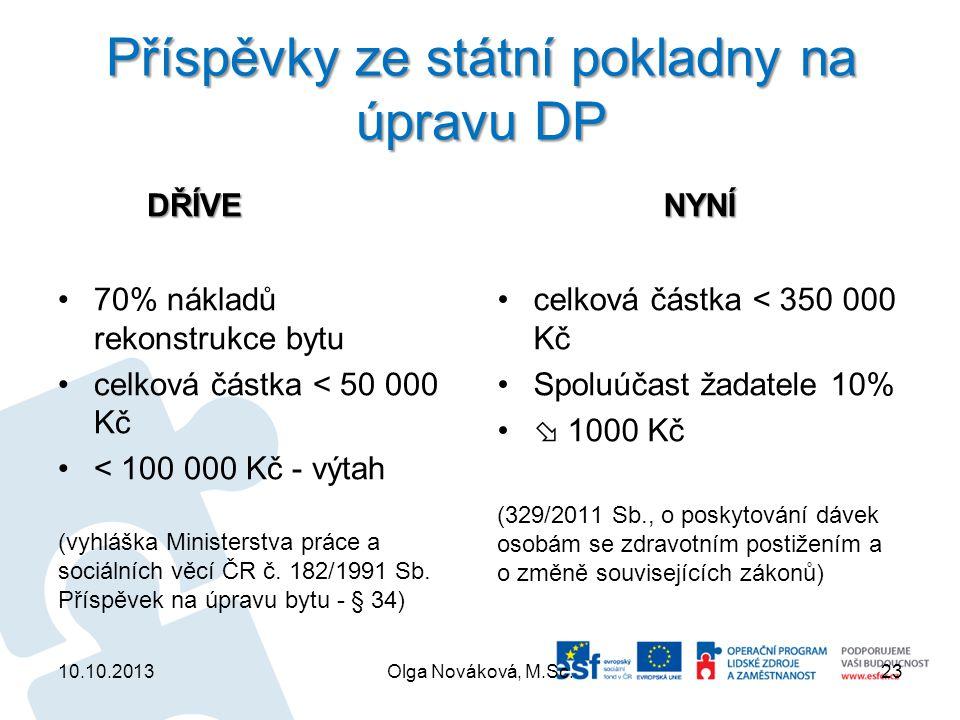 Příspěvky ze státní pokladny na úpravu DP DŘÍVE DŘÍVE 70% nákladů rekonstrukce bytu celková částka < 50 000 Kč < 100 000 Kč - výtah (vyhláška Minister