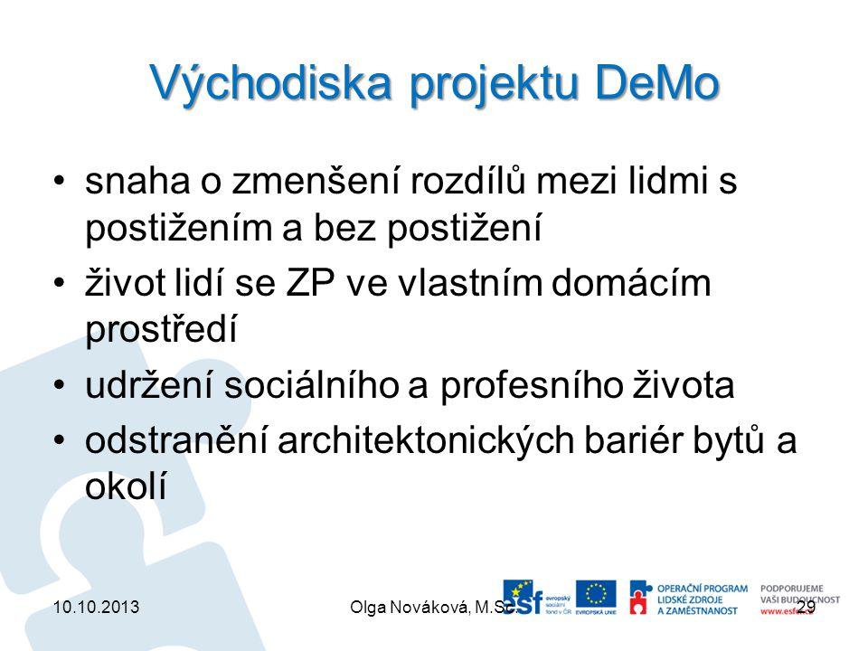 Východiska projektu DeMo snaha o zmenšení rozdílů mezi lidmi s postižením a bez postižení život lidí se ZP ve vlastním domácím prostředí udržení sociá