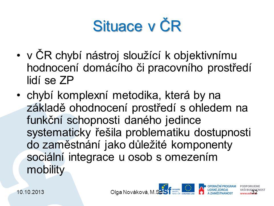 Situace v ČR v ČR chybí nástroj sloužící k objektivnímu hodnocení domácího či pracovního prostředí lidí se ZP chybí komplexní metodika, která by na zá