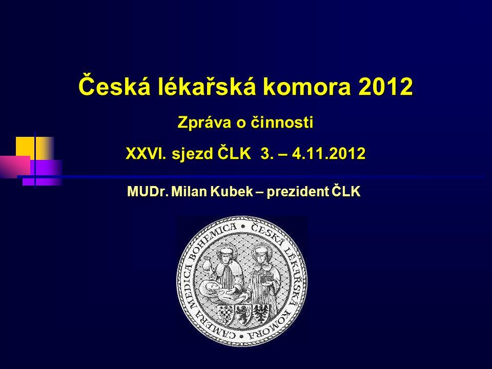 Česká lékařská komora 2012 Zpráva o činnosti XXVI. sjezd ČLK 3. – 4.11.2012 MUDr. Milan Kubek – prezident ČLK