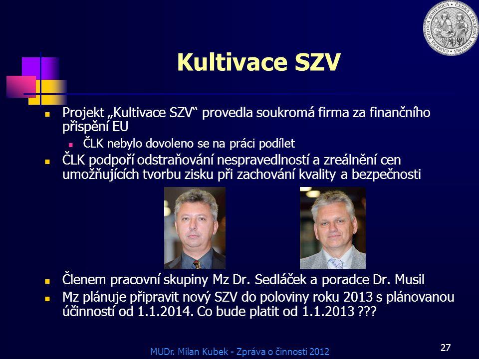 """MUDr. Milan Kubek - Zpráva o činnosti 2012 27 Kultivace SZV Projekt """"Kultivace SZV"""" provedla soukromá firma za finančního přispění EU ČLK nebylo dovol"""