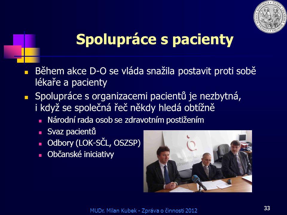 MUDr. Milan Kubek - Zpráva o činnosti 2012 Spolupráce s pacienty Během akce D-O se vláda snažila postavit proti sobě lékaře a pacienty Spolupráce s or