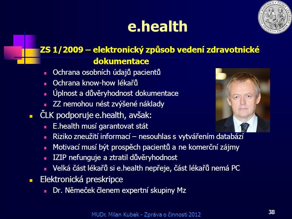 MUDr. Milan Kubek - Zpráva o činnosti 2012 38 e.health ZS 1/2009 – elektronický způsob vedení zdravotnické dokumentace Ochrana osobních údajů pacientů
