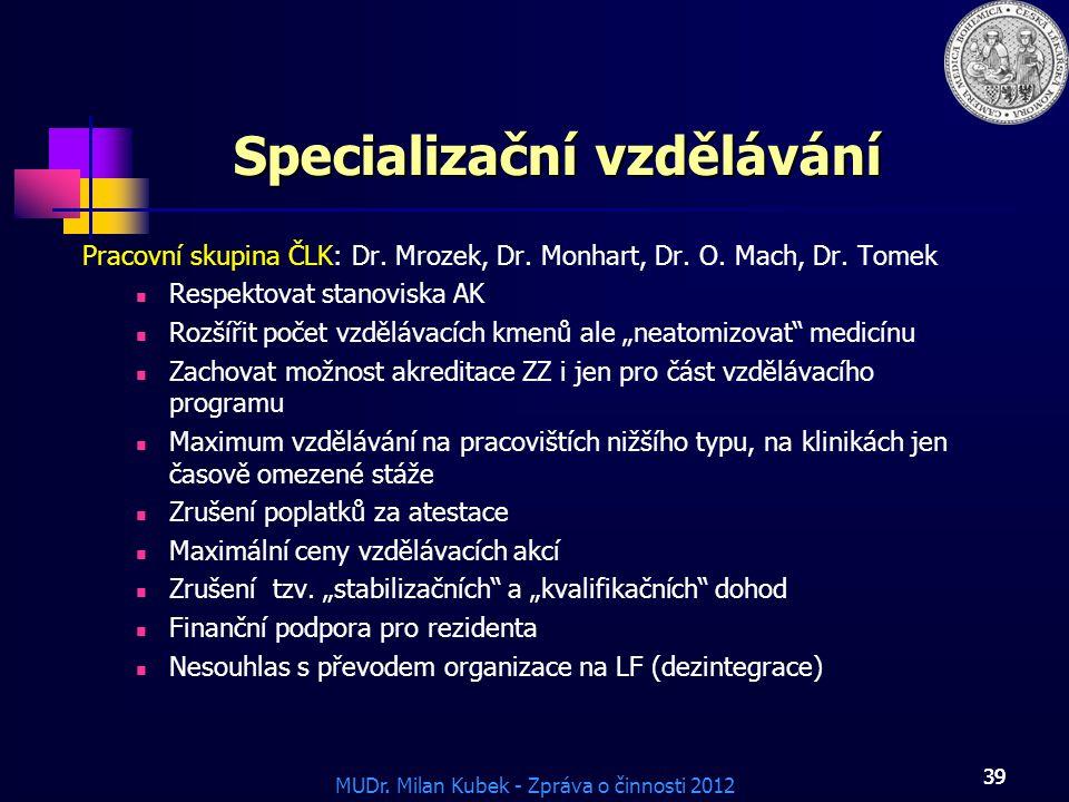 MUDr. Milan Kubek - Zpráva o činnosti 2012 39 Specializační vzdělávání Pracovní skupina ČLK: Dr. Mrozek, Dr. Monhart, Dr. O. Mach, Dr. Tomek Respektov