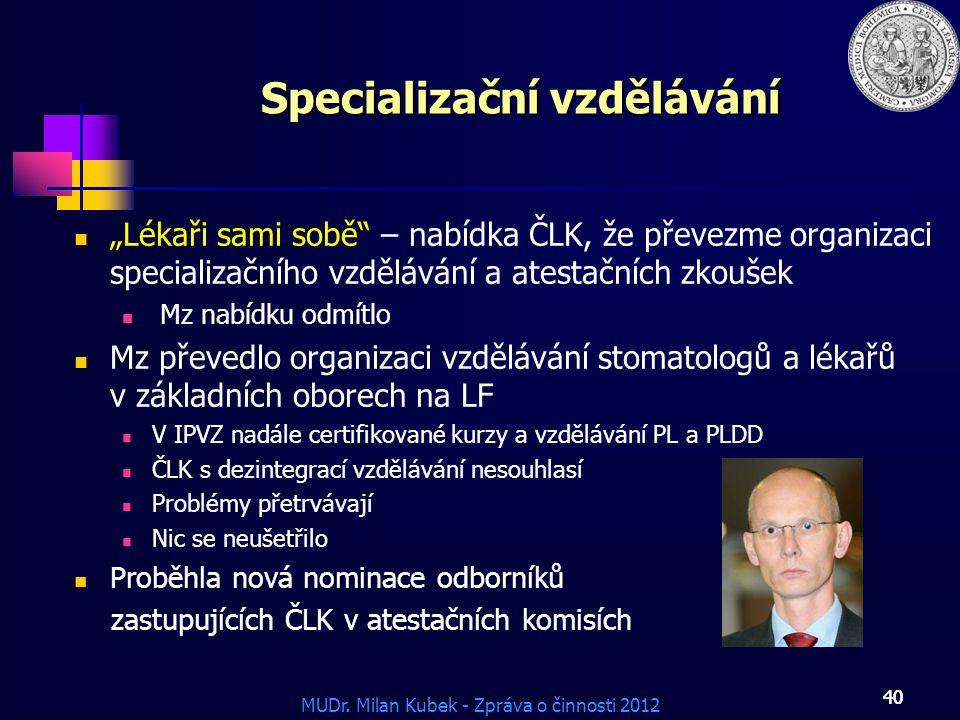 """MUDr. Milan Kubek - Zpráva o činnosti 2012 40 Specializační vzdělávání """"Lékaři sami sobě"""" – nabídka ČLK, že převezme organizaci specializačního vzdělá"""