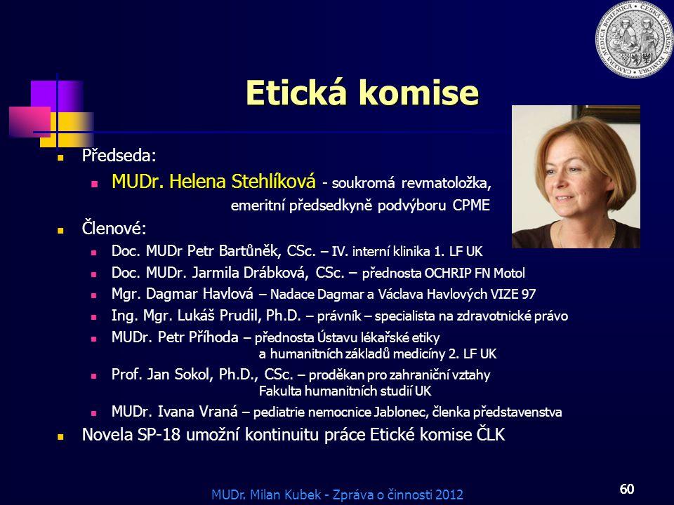 MUDr. Milan Kubek - Zpráva o činnosti 2012 60 Etická komise Předseda: MUDr. Helena Stehlíková - soukromá revmatoložka, emeritní předsedkyně podvýboru