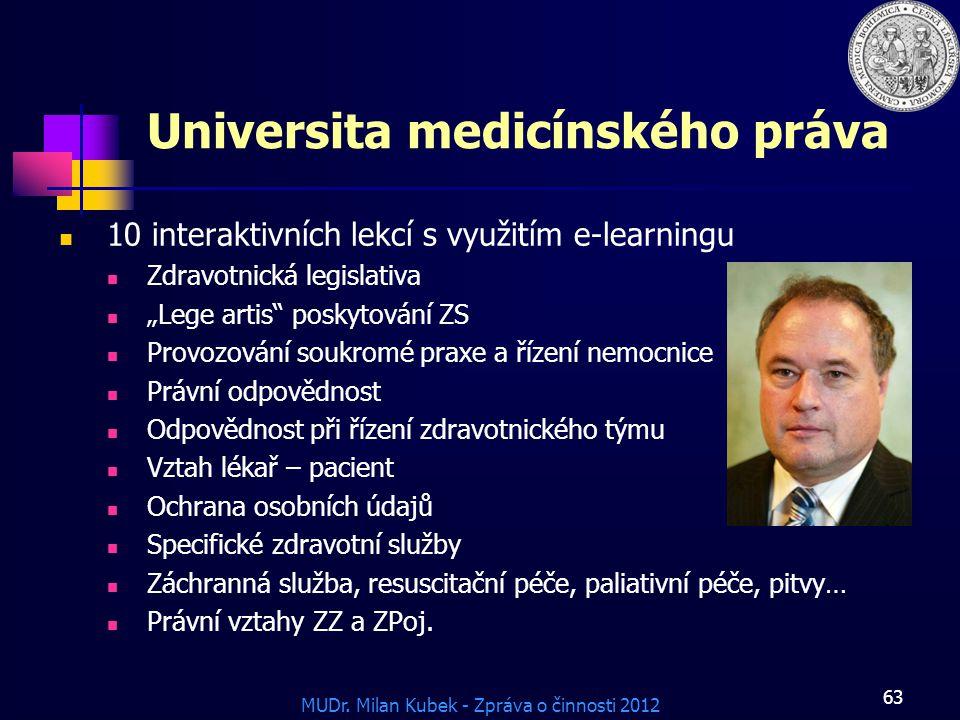"""MUDr. Milan Kubek - Zpráva o činnosti 2012 63 Universita medicínského práva 10 interaktivních lekcí s využitím e-learningu Zdravotnická legislativa """"L"""