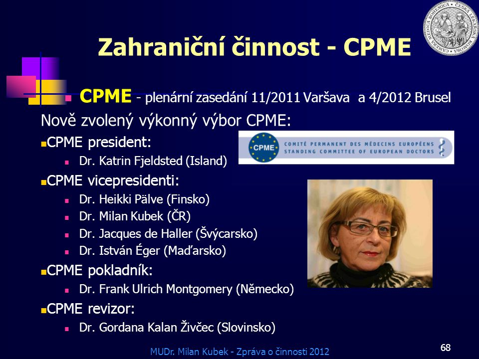 MUDr. Milan Kubek - Zpráva o činnosti 2012 Zahraniční činnost - CPME CPME - plenární zasedání 11/2011 Varšava a 4/2012 Brusel Nově zvolený výkonný výb
