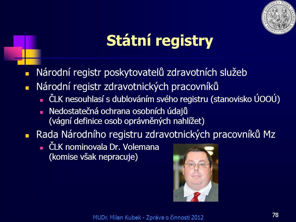 MUDr. Milan Kubek - Zpráva o činnosti 2012 78 Státní registry Národní registr poskytovatelů zdravotních služeb Národní registr zdravotnických pracovní
