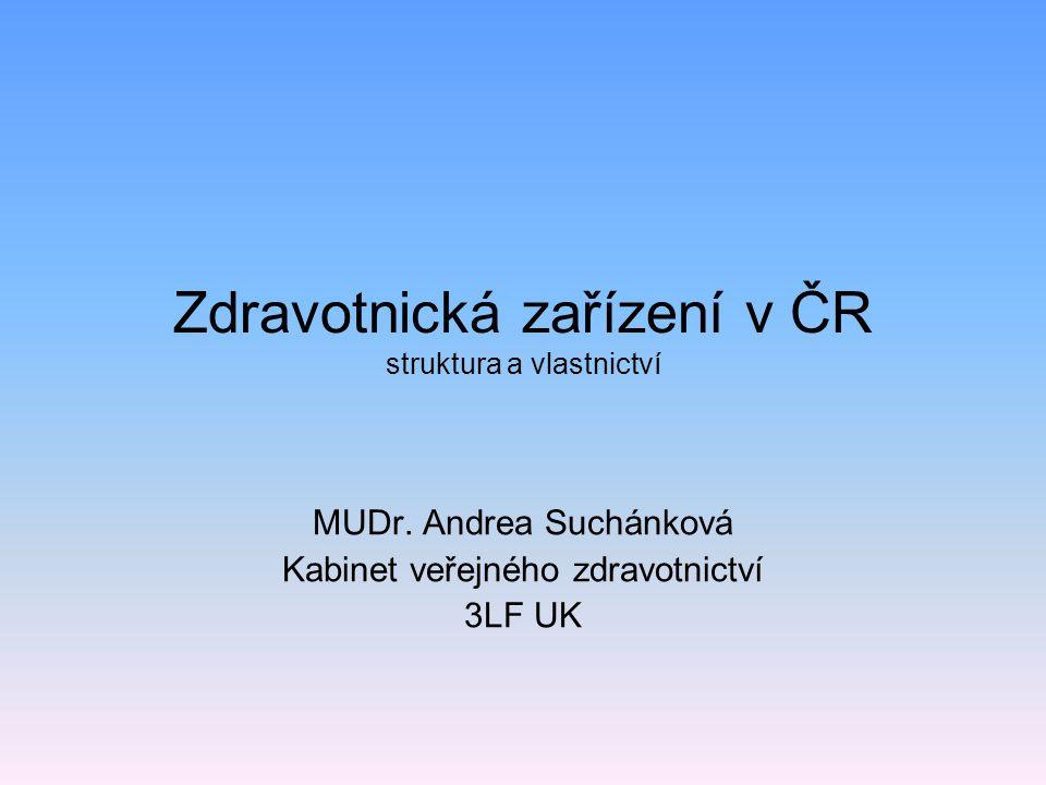 Zdravotnická zařízení v ČR struktura a vlastnictví MUDr. Andrea Suchánková Kabinet veřejného zdravotnictví 3LF UK