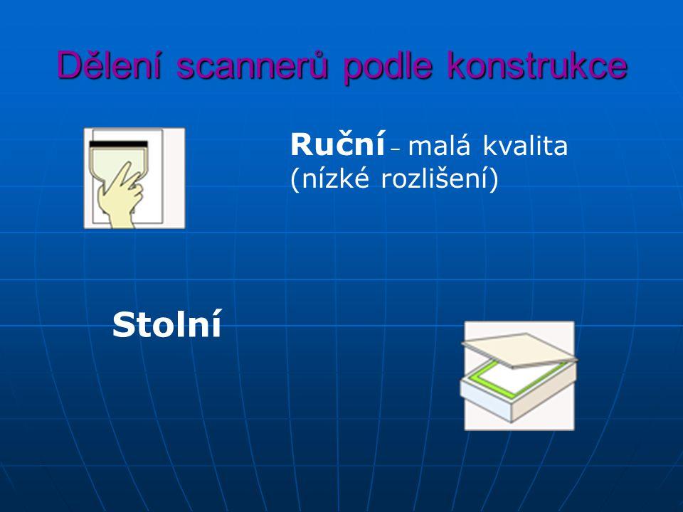 Dělení scannerů podle konstrukce Ruční – malá kvalita (nízké rozlišení) Stolní