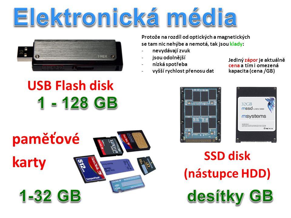 USB Flash disk paměťové karty SSD disk (nástupce HDD) Protože na rozdíl od optických a magnetických se tam nic nehýbe a nemotá, tak jsou klady: -nevydávají zvuk -jsou odolnější -nízká spotřeba -vyšší rychlost přenosu dat Jediný zápor je aktuálně cena a tím i omezená kapacita (cena /GB)