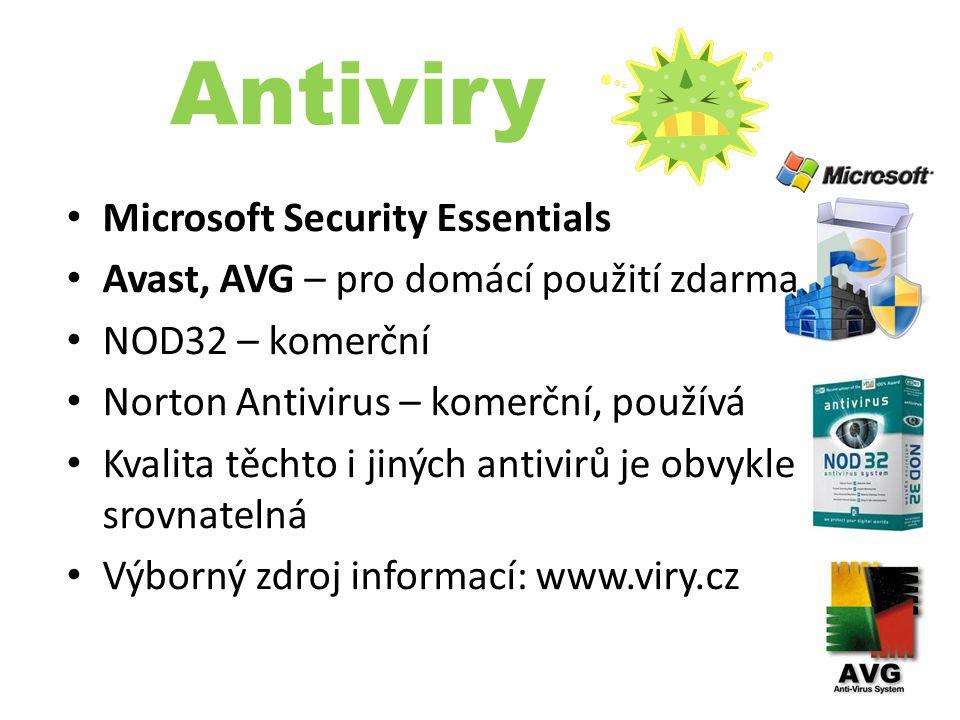 Antiviry Microsoft Security Essentials Avast, AVG – pro domácí použití zdarma NOD32 – komerční Norton Antivirus – komerční, používá Kvalita těchto i j