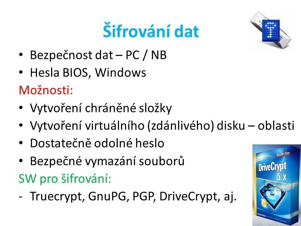 Šifrování dat Bezpečnost dat – PC / NB Hesla BIOS, Windows Možnosti: Vytvoření chráněné složky Vytvoření virtuálního (zdánlivého) disku – oblasti Dost