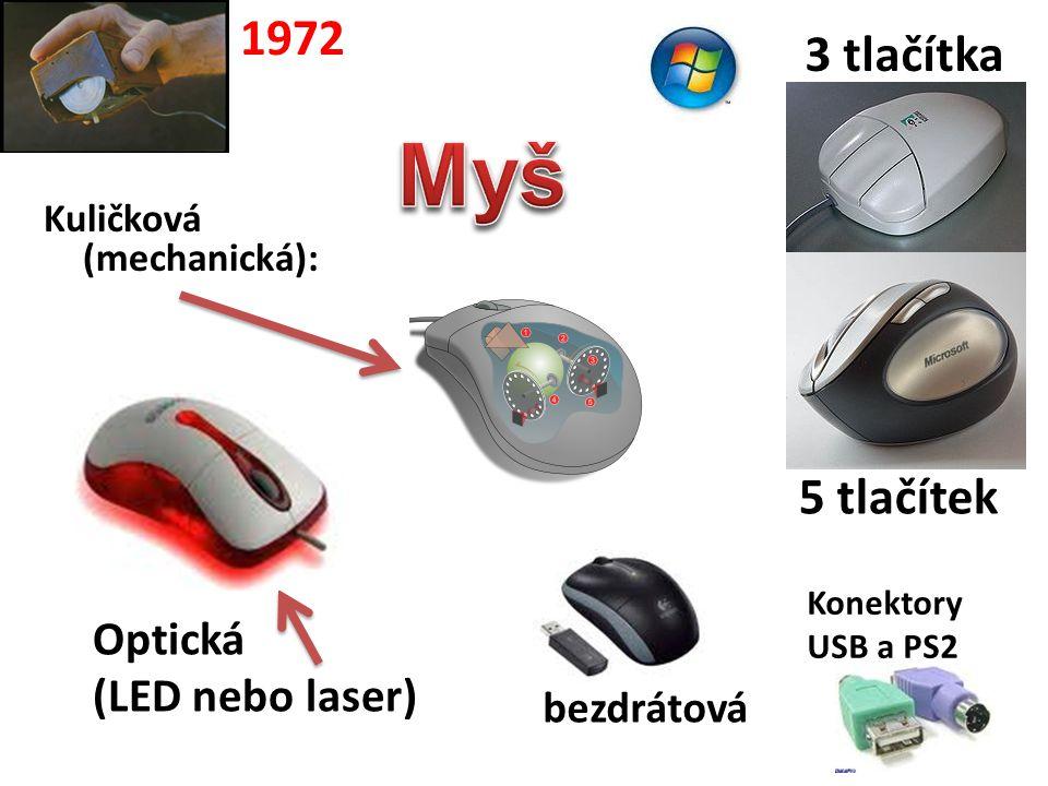 Optická (LED nebo laser) 3 tlačítka Kuličková (mechanická): 5 tlačítek 1972 bezdrátová Konektory USB a PS2
