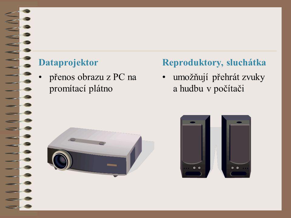 Dataprojektor přenos obrazu z PC na promítací plátno Reproduktory, sluchátka umožňují přehrát zvuky a hudbu v počítači