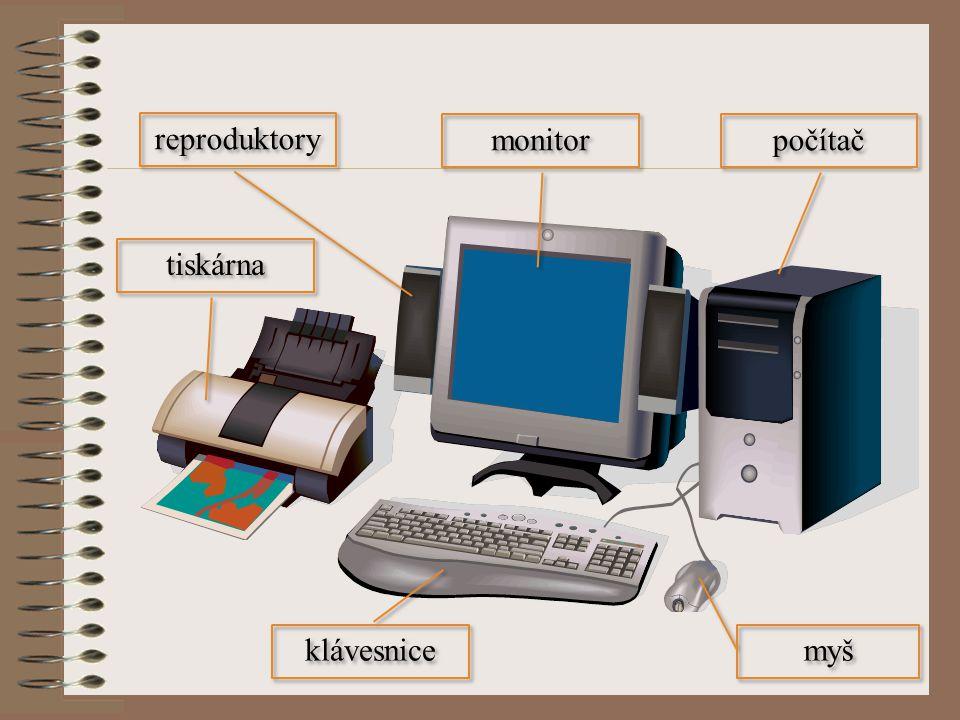 počítač tiskárna monitor myš klávesnice reproduktory
