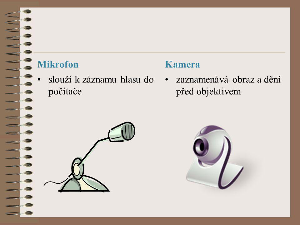 Mikrofon slouží k záznamu hlasu do počítače Kamera zaznamenává obraz a dění před objektivem