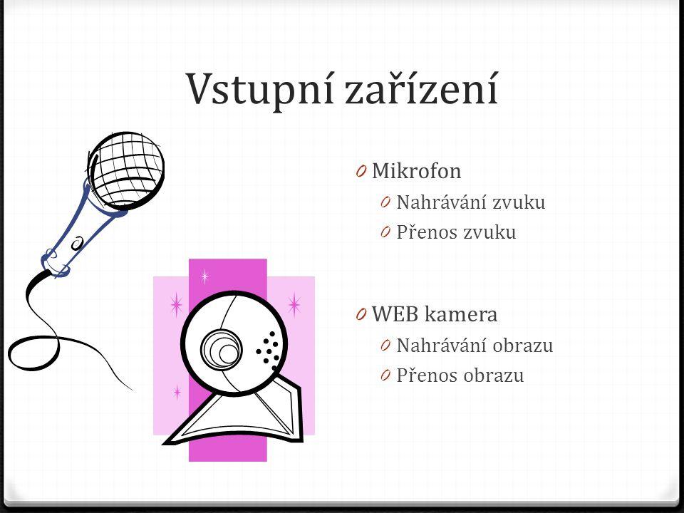 Vstupní zařízení 0 Mikrofon 0 Nahrávání zvuku 0 Přenos zvuku 0 WEB kamera 0 Nahrávání obrazu 0 Přenos obrazu