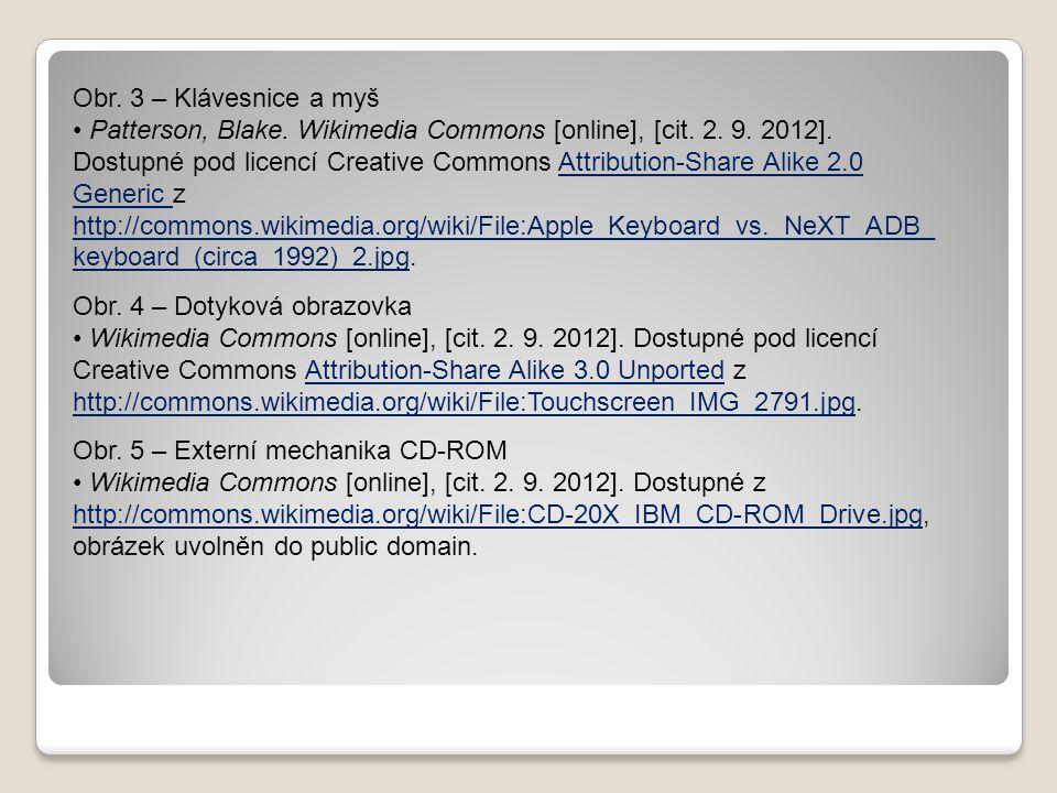 Obr. 3 – Klávesnice a myš Patterson, Blake. Wikimedia Commons [online], [cit. 2. 9. 2012]. Dostupné pod licencí Creative Commons Attribution-Share Ali