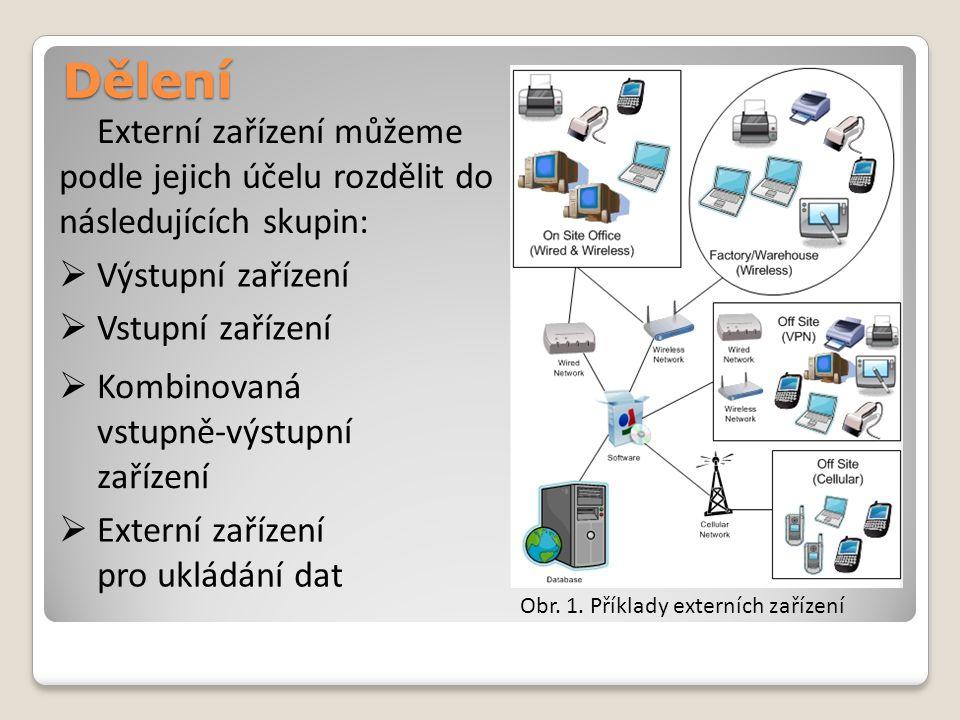 Dělení Externí zařízení můžeme podle jejich účelu rozdělit do následujících skupin:  Výstupní zařízení  Kombinovaná vstupně-výstupní zařízení  Exte