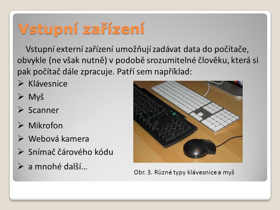 Vstupní zařízení Obr. 3. Různé typy klávesnice a myš Vstupní externí zařízení umožňují zadávat data do počítače, obvykle (ne však nutně) v podobě sroz