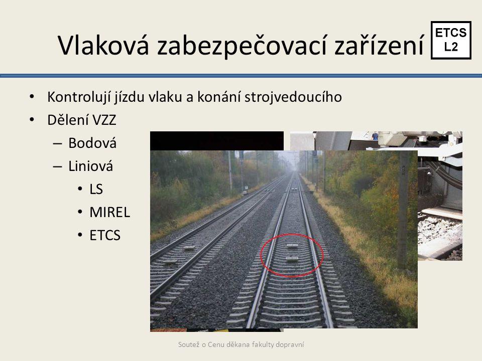 Vlaková zabezpečovací zařízení Kontrolují jízdu vlaku a konání strojvedoucího Dělení VZZ – Bodová – Liniová LS MIREL ETCS Soutež o Cenu děkana fakulty dopravní
