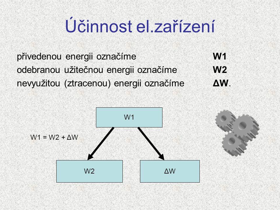 Účinnost el.zařízení přivedenou energii označíme W1 odebranou užitečnou energii označíme W2 nevyužitou (ztracenou) energii označíme ΔW. W1 W2ΔWΔW W1 =
