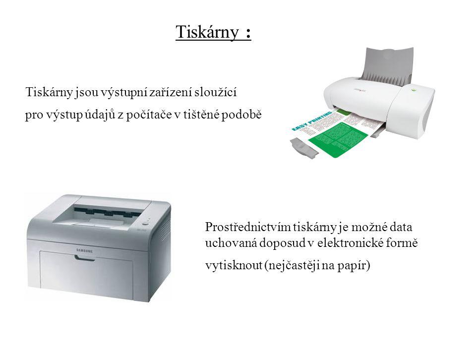 Základní parametry: typ tiskárny (tisku): jehličková,inkoustová, laserová, s pevným inkoustem, sublimační rychlost tisku: počet znaků (stránek) vytištěných za jednotku času (například 10 stránek/min) cena za vytištěnou stránku: je dána cenou listu požadovaného papíru cenou a životností tiskové náplně (barvící páska, cartridge s inkoustem, kazeta s tonerem atd.) rozlišení (kvalita tisku): počet bodů, které je tiskárna schopna vytisknout na jeden palec (udáváno v bodech na palec - dpi - Dots Per Inch) barevnost: schopnost tisknout pouze černobíle nebo i barevně pořizovací náklady: cena tiskárny