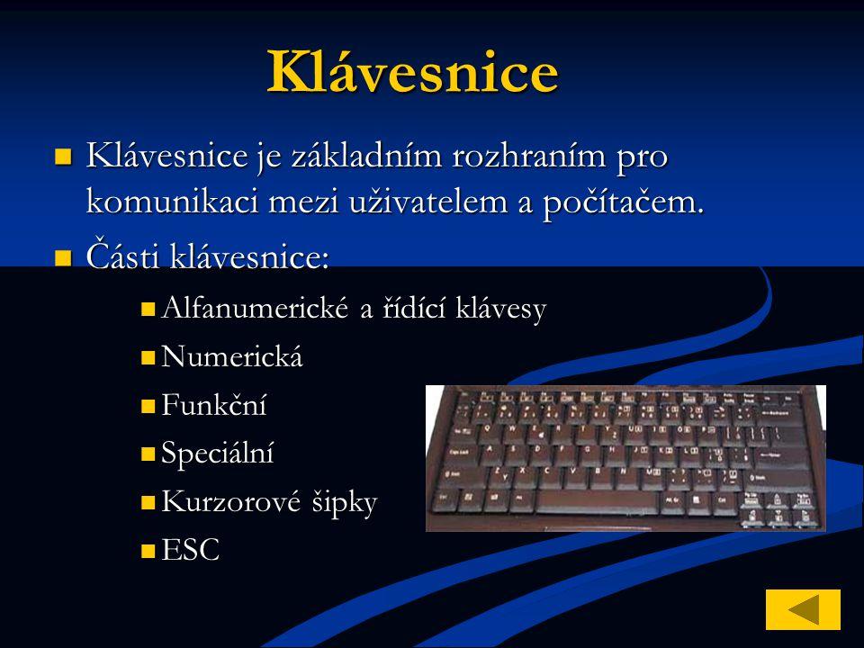 Klávesnice Klávesnice je základním rozhraním pro komunikaci mezi uživatelem a počítačem. Klávesnice je základním rozhraním pro komunikaci mezi uživate