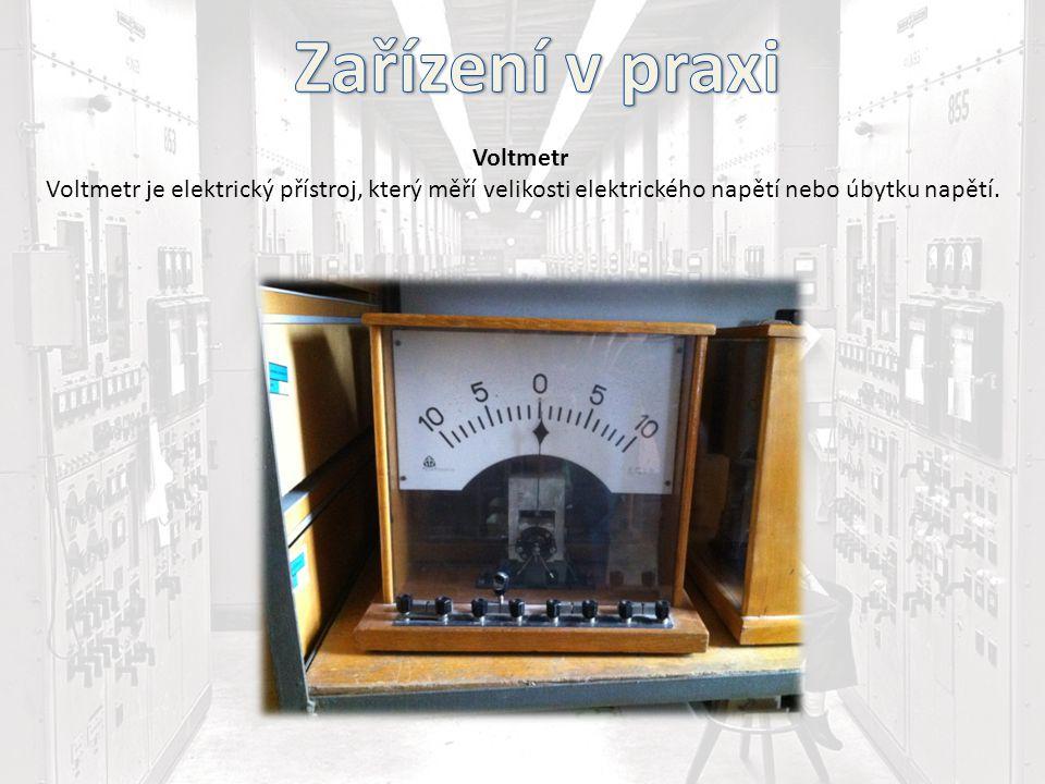 Voltmetr Voltmetr je elektrický přístroj, který měří velikosti elektrického napětí nebo úbytku napětí.