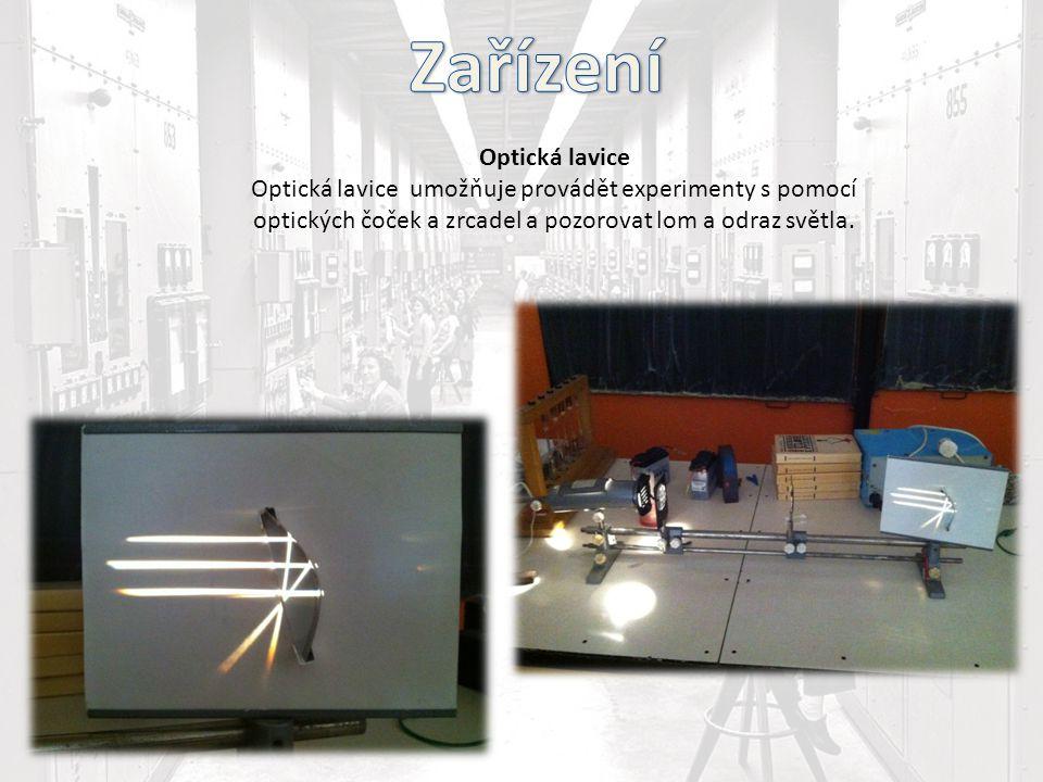 Optická lavice Optická lavice umožňuje provádět experimenty s pomocí optických čoček a zrcadel a pozorovat lom a odraz světla.