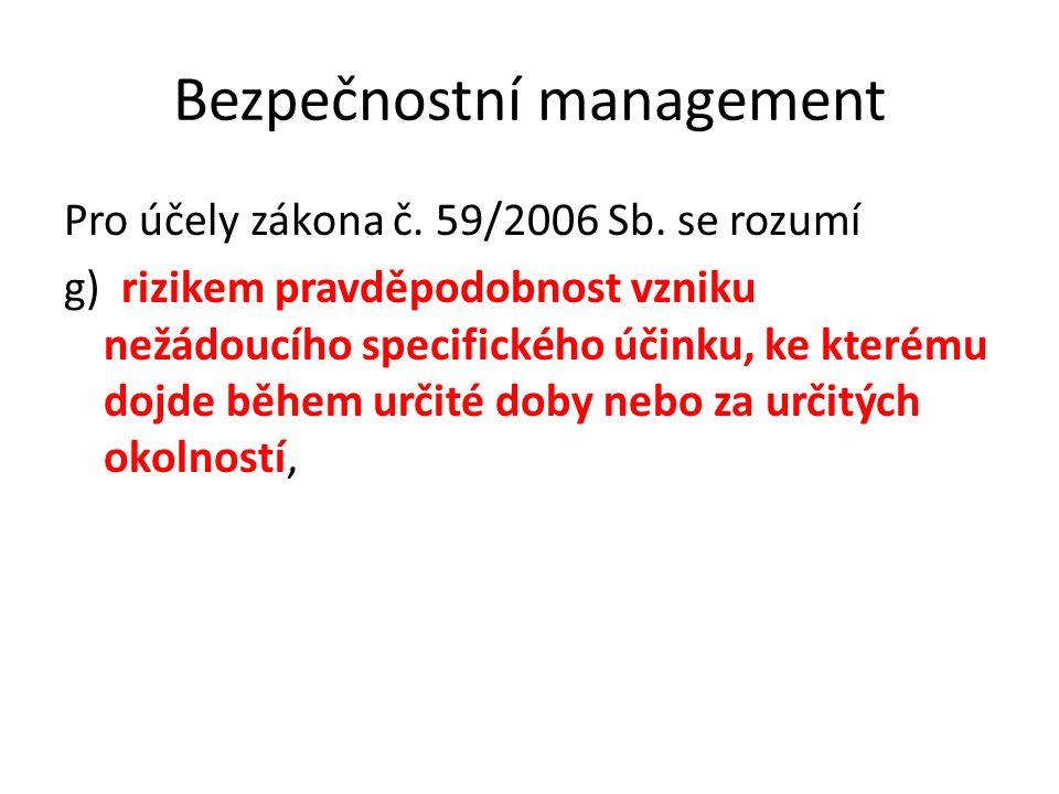 Bezpečnostní management Pro účely zákona č. 59/2006 Sb. se rozumí g) rizikem pravděpodobnost vzniku nežádoucího specifického účinku, ke kterému dojde