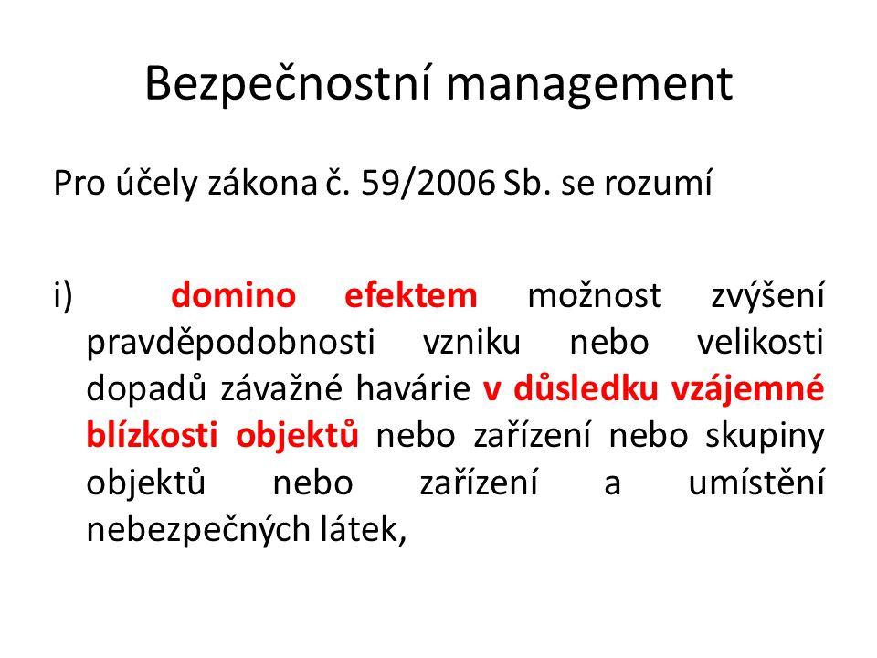 Bezpečnostní management Pro účely zákona č. 59/2006 Sb. se rozumí i) domino efektem možnost zvýšení pravděpodobnosti vzniku nebo velikosti dopadů záva