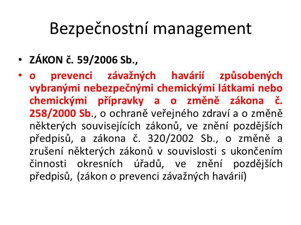 Bezpečnostní management ZÁKON č. 59/2006 Sb., o prevenci závažných havárií způsobených vybranými nebezpečnými chemickými látkami nebo chemickými přípr