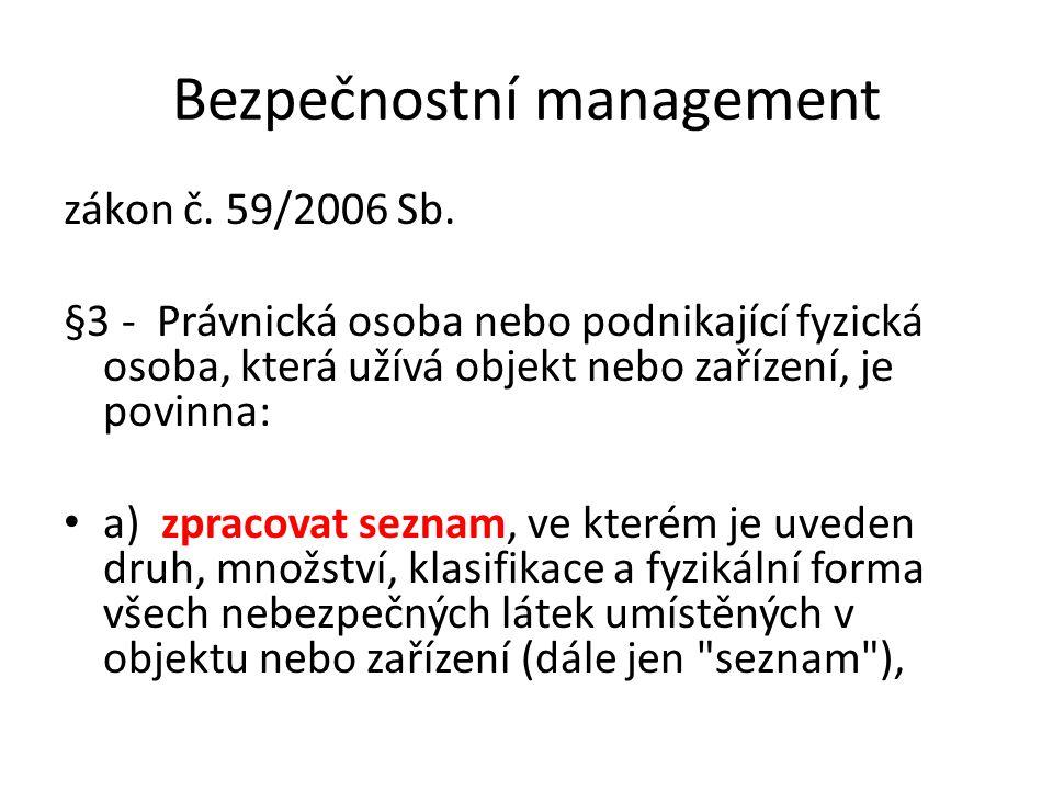 Bezpečnostní management zákon č. 59/2006 Sb. §3 - Právnická osoba nebo podnikající fyzická osoba, která užívá objekt nebo zařízení, je povinna: a) zpr