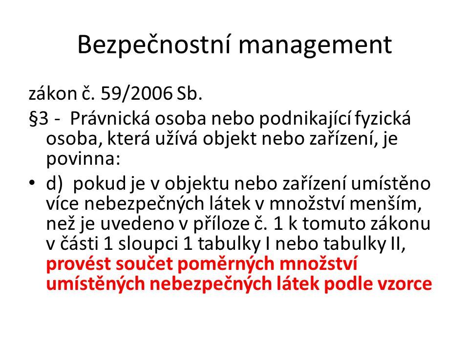 Bezpečnostní management zákon č. 59/2006 Sb. §3 - Právnická osoba nebo podnikající fyzická osoba, která užívá objekt nebo zařízení, je povinna: d) pok