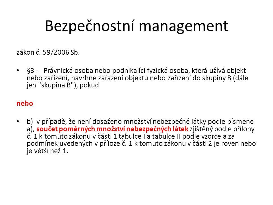 Bezpečnostní management zákon č. 59/2006 Sb. §3 - Právnická osoba nebo podnikající fyzická osoba, která užívá objekt nebo zařízení, navrhne zařazení o