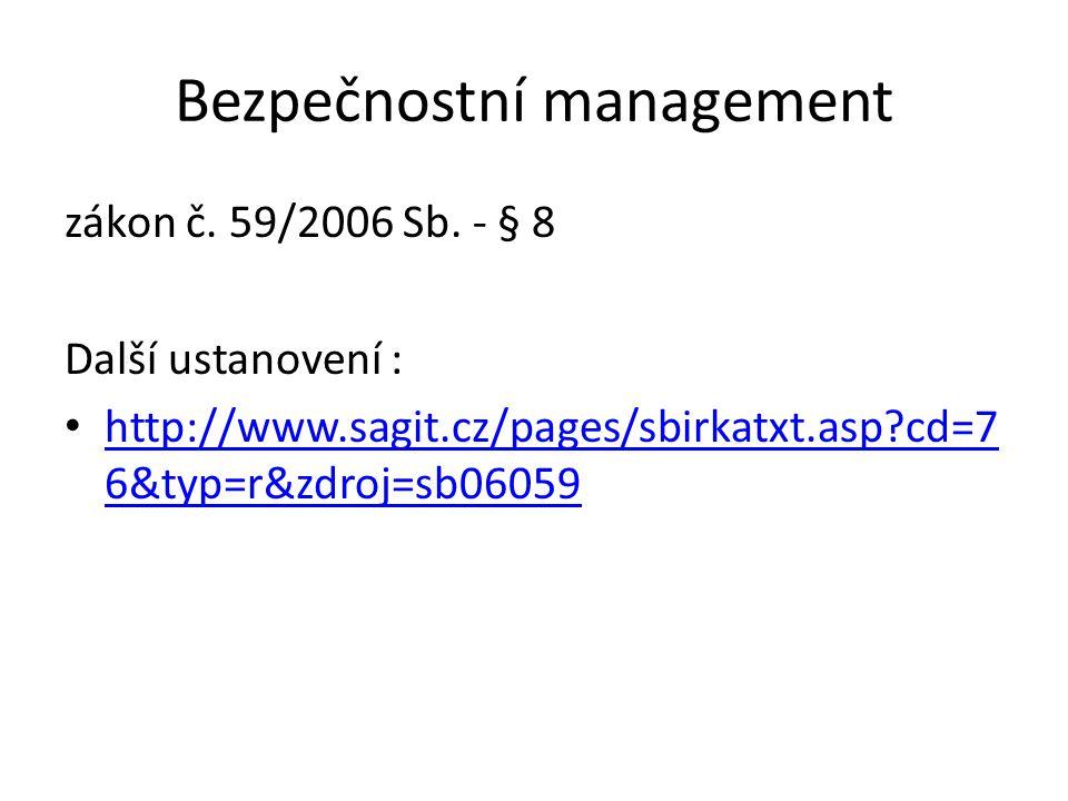 Bezpečnostní management zákon č. 59/2006 Sb. - § 8 Další ustanovení : http://www.sagit.cz/pages/sbirkatxt.asp?cd=7 6&typ=r&zdroj=sb06059 http://www.sa