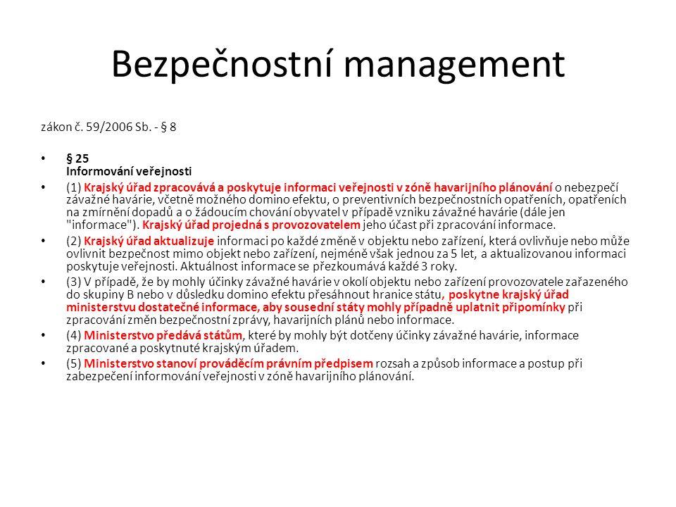 Bezpečnostní management zákon č. 59/2006 Sb. - § 8 § 25 Informování veřejnosti (1) Krajský úřad zpracovává a poskytuje informaci veřejnosti v zóně hav