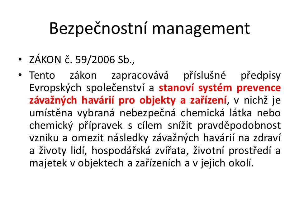 Bezpečnostní management ZÁKON č. 59/2006 Sb., Tento zákon zapracovává příslušné předpisy Evropských společenství a stanoví systém prevence závažných h