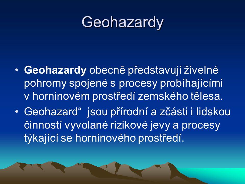 Geohazardy Geohazardy obecně představují živelné pohromy spojené s procesy probíhajícími v horninovém prostředí zemského tělesa.