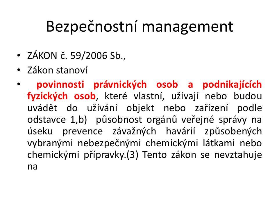 Bezpečnostní management ZÁKON č. 59/2006 Sb., Zákon stanoví povinnosti právnických osob a podnikajících fyzických osob, které vlastní, užívají nebo bu