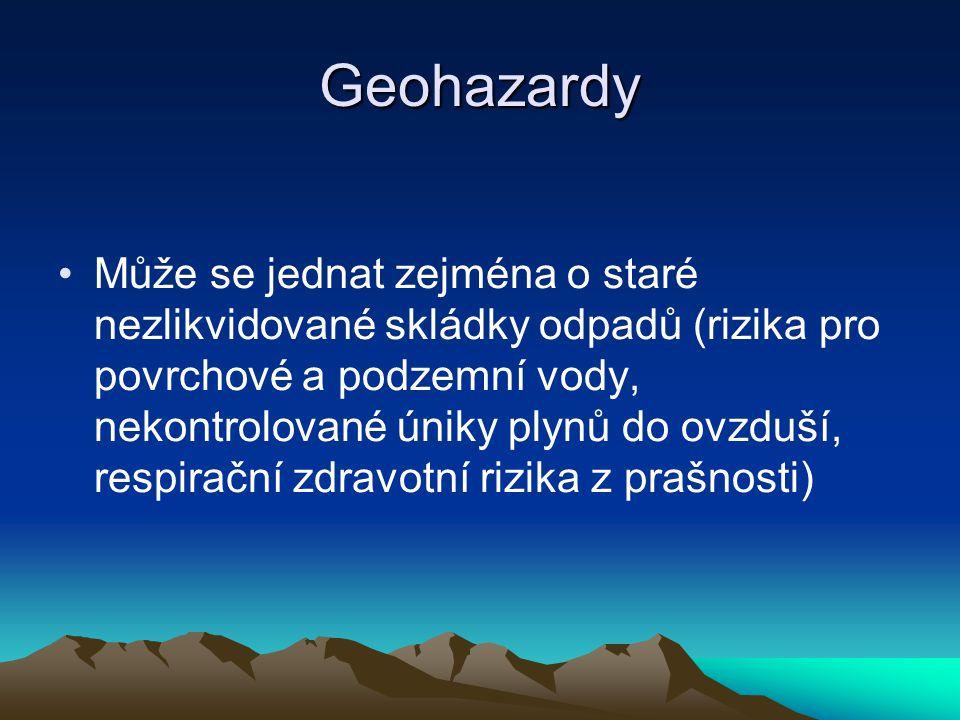 Geohazardy Může se jednat zejména o staré nezlikvidované skládky odpadů (rizika pro povrchové a podzemní vody, nekontrolované úniky plynů do ovzduší, respirační zdravotní rizika z prašnosti)